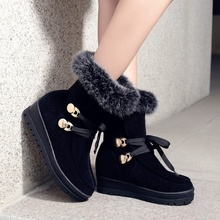 Black Wine Red Snow Boots For Women 2016 Winter New Plus Velvet Warm Thick Crust Creepers Slope Heels Booties Shoes Discount