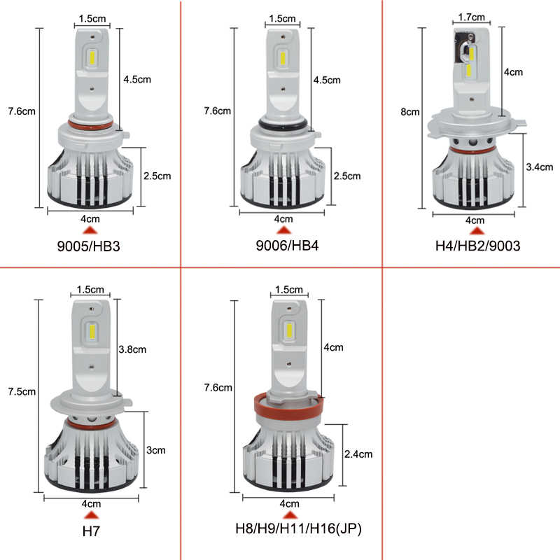 headlight bulb 72W H4 led HB2/9003 Hi/Lo H7 H11 9005 HB3 9006 HB4 Car Headlight Led High Power White 6500K car-styling