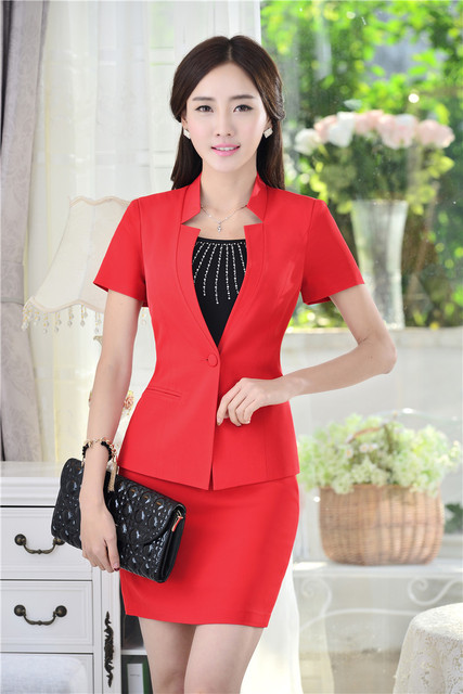Plus Size Verão 2015 Formal Vermelho Blazers Mulheres Ternos com Saia e Jaquetas Conjuntos Elegante Styles Uniformes Ladies Escritório Esteticista