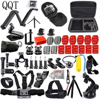 QQT for GoPro Accessories kit 3 way Selfie stick monopod for Gopro Hero 7 6 5 4 3 + for xiaomi for yi Sports camera