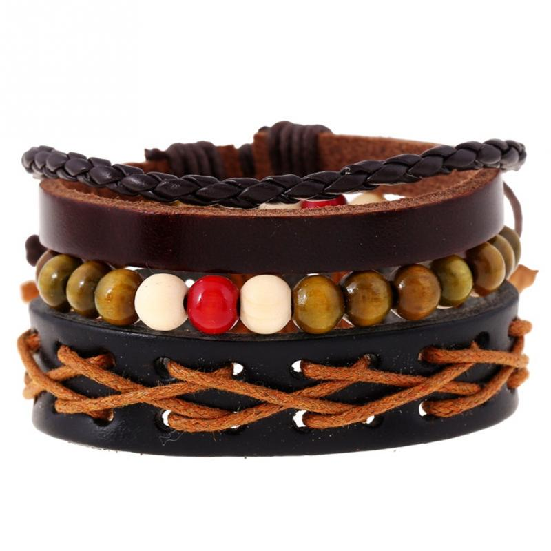 Fashionable Unisex Faux Cowhide Bracelet Multi Layer Design Weave Bangle Jewelry - Click Image to Close
