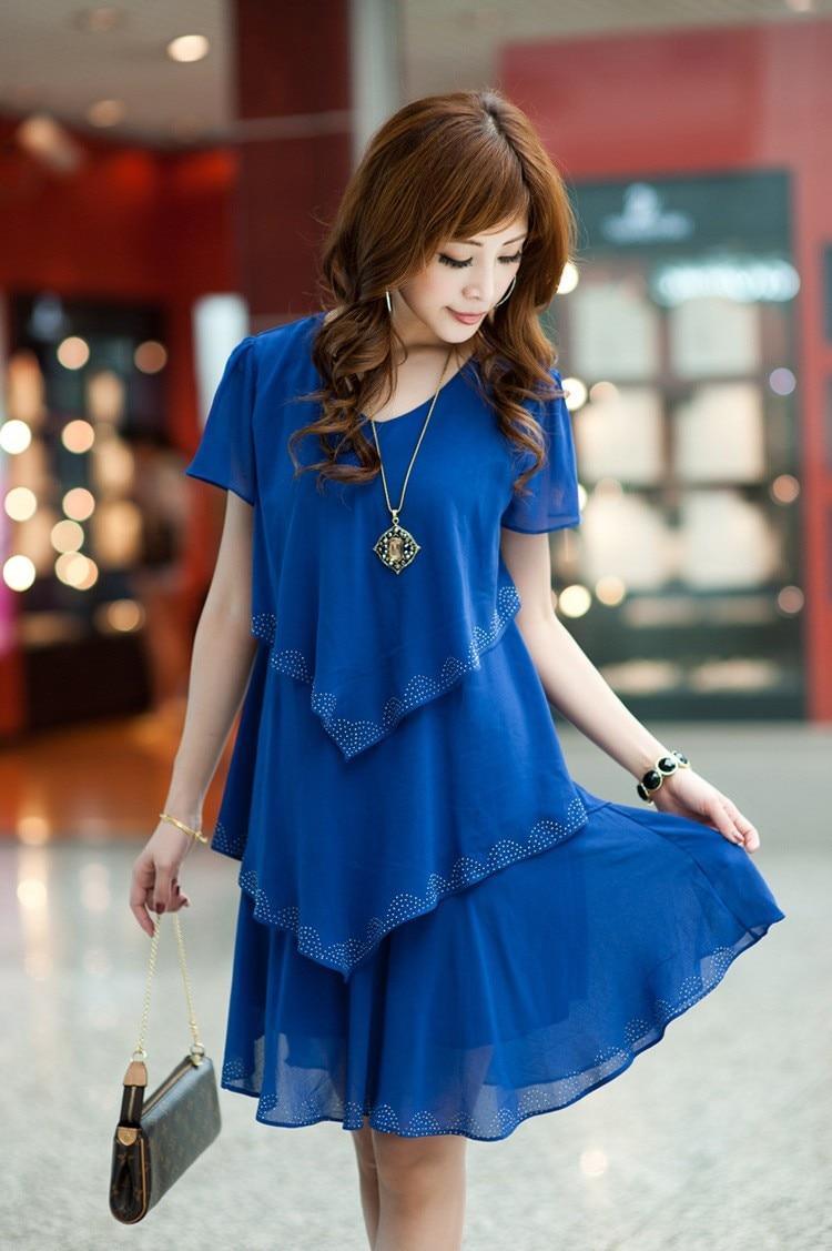 Vestido De Festa Summer Dresses 5XL Plus Size Women Clothing ropa mujer 18 Chiffon Dress Party Short Sleeve Casual Blue Black 13