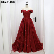 Блестящее бургундское вечернее платье с блестками, Дубай,, саудовская Арабская, с открытыми плечами, элегантное вечернее платье, Длинные вечерние платья для выпускного вечера