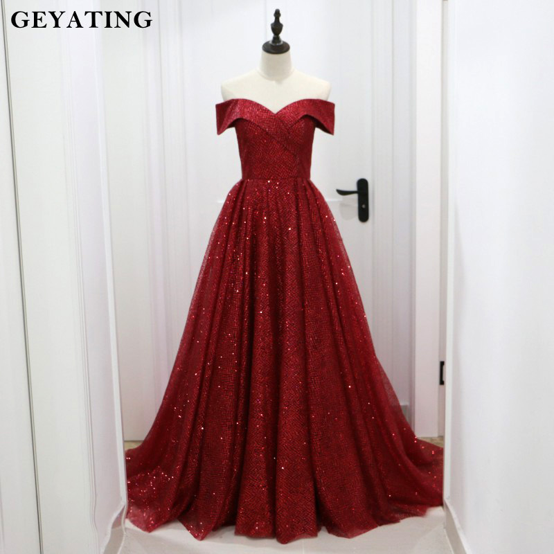 Glitter Sequin Burgundy Dubai Evening Dress 2019 Saudi Arabic Off The Shoulder Formal Dress Elegant Long Party Prom Dresses