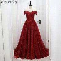 Glitter Sequin Burgundy Dubai Evening Dress 2019 Saudi Arabic Off the Shoulder Formal Dress Elegant Long Party Prom Dresses