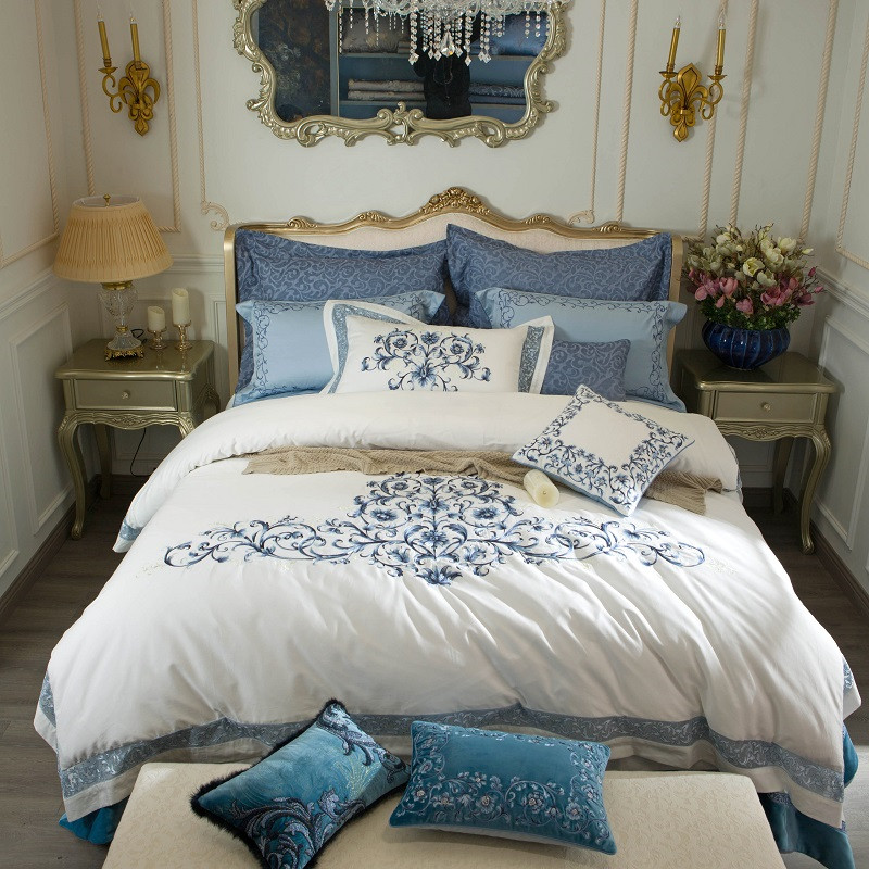 Luxury White 100S/1000TC Egyptian Cotton Blue Royal Embroidery Palace Bedding Set Duvet Cover Bed Sheet Bed Linen Pillowcases