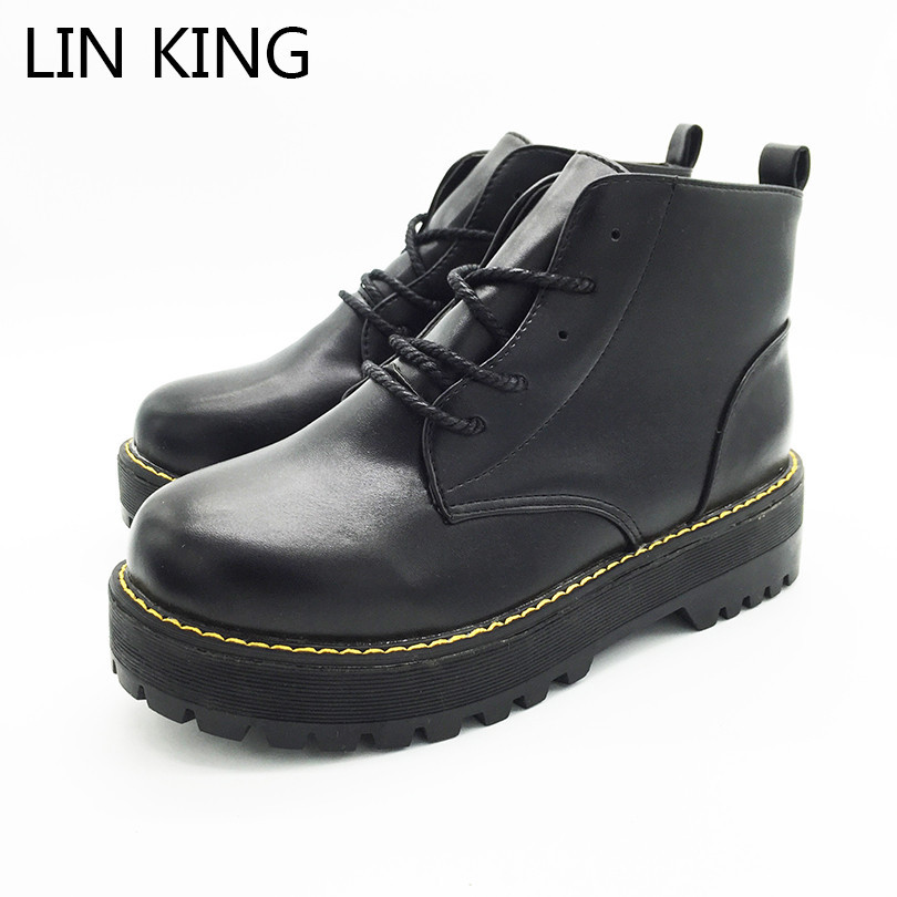 LIN KING New Brand Women Martin Boots Round Toe Thick Sole Lace Up Platform Shoes High Top Solid Pu Warm Winter Female Boots lin king hot sale women snow boots lace up flock solid high top ankle boots round toe thick sole low heel warm wintrer boots