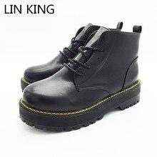 LIN KING Новые модные женские ботинки-мартинсы с закругленным носом с толстой подошвой зимние ботинки на платформе из ПУ кожи