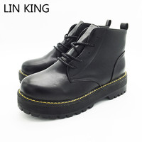 LIN KRAL Yeni Marka Kadınlar Martin Çizmeler Yuvarlak Ayak Kalın Tek dantel Up Platformu Ayakkabı Yüksek Üst Katı Pu Sıcak Kış Kadın çizmeler