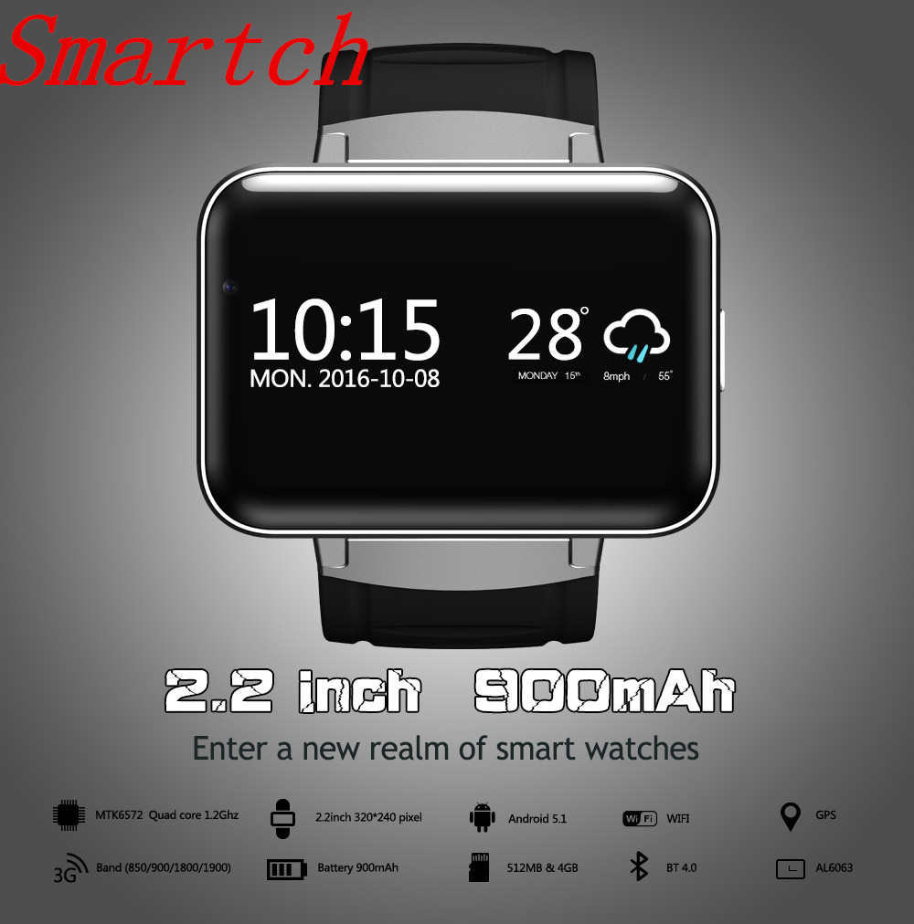 Smartch 2017 Wifi Bluetooth Watch Anroid 4.4 Smart Watch DM98 2.2 inch LED Display SIM Card Reminder Calls for Android ios smartch 2017 new 3g gps wifi bluetooth watch smart watch dm98 supports sim card reminder calls for android ios phone pk kw88