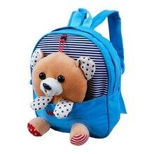 FGGS Caliente Mini Bolsos de Escuela Mochilas de Los Niños de Los Niños mochila de Dibujos Animados Oso Muñeca Mochila de Impresión Para 2-6 Año niños Azul
