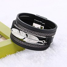 fashion ladies bracelet multilayer feather leather bracelet with multi-layer personality ultra wide magnetic buckle bracele