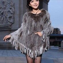 Lady Fashion New Genuine Real Knitted Rabbit Fur Poncho with Tassels and Raccoon Fur Trim Shawl cape women 100% genuine fur