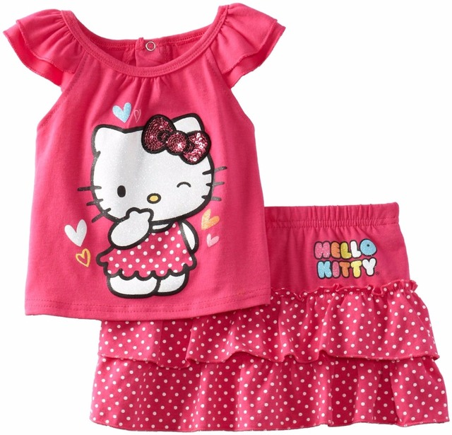 Moda 100 algodão orgânico recém-nascido roupa do bebê olá kitty conjuntos curtos para bebês recém-nascidos