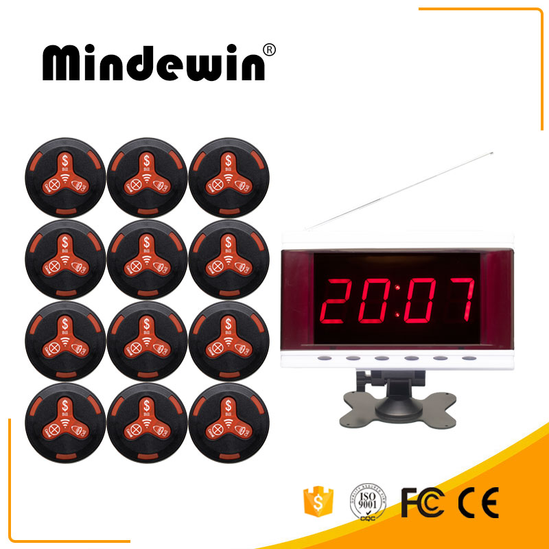 Mindewin Wireless Calling System for Restaurants Pager 12PCS M-K-3 Call Buttons and 1PCS M-R-2 LED Display Show 1 Group Number wireless bell button for table service and pager display receiver showing call number for simple queue wireless call system