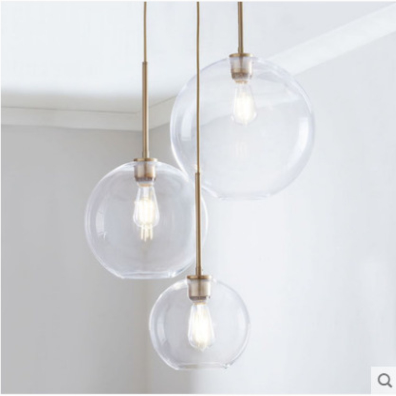 Nordic Loft Glass Ball Dining Room Pendant Lights Creative Bedroom Parlor Cafe Led Hanging Light Fixtures Free Shipping