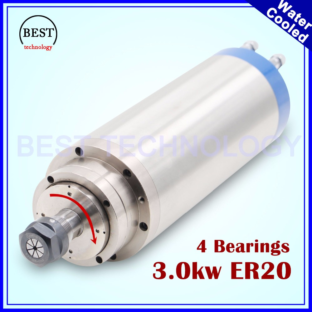 CNC stone working 220v ER20 3kw Water-cooled spindle 3kw spindle motor water cooling engraving spindle for stone wood working 3kw air cooled spindle engraving machine spindle motor 3kw 4pcs ceramic bearings