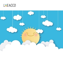 Laeacco Baby Cartoon Cloud Sun Birthday Party Shower Wallpaper Poster Photo Backgrounds Photography Backdrops Studio