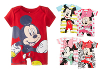 Baby Romper Mickey Minnie Cartoon Short Sleeve Cute Clothes Baby Girl One Pieces Jumpsuits Roupas De