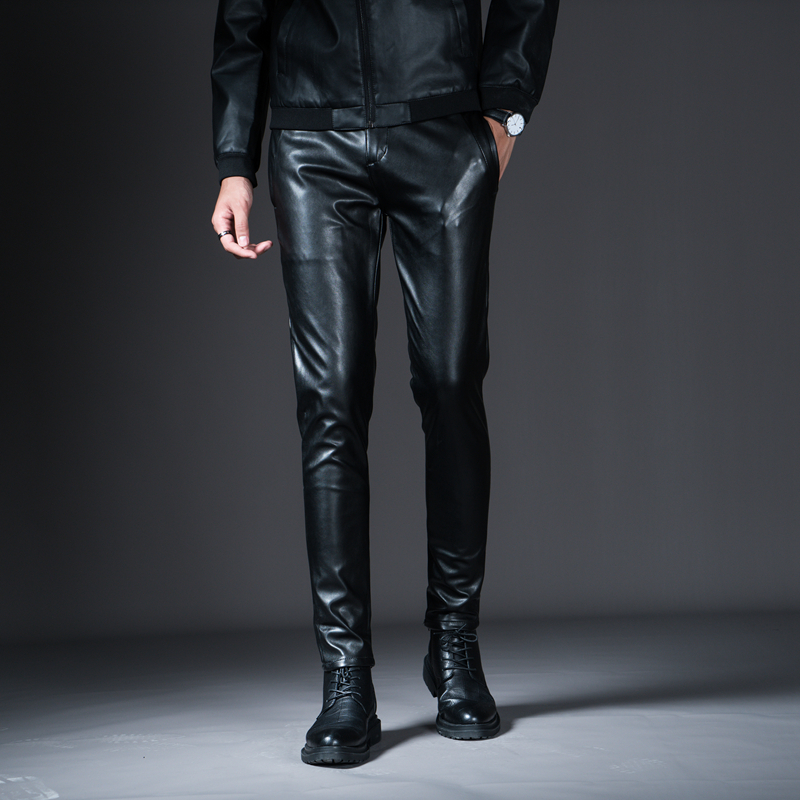 HTB1gNOuXdfvK1RjSspfq6zzXFXaK New Winter Mens Skinny Biker Leather Pants Fashion Faux Leather Motorcycle Trousers For Male Stage Club Wear