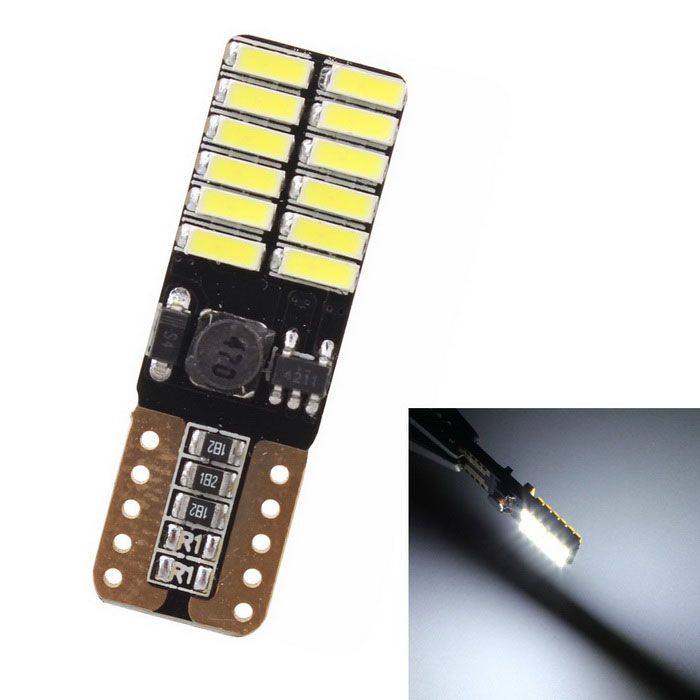 10 Pcs T10 LED Auto Lamp Car From Canbus W5W 4014 24 SMD 8W 6000K Light Emitting Diodes Independent Bulb Excelente producto in Signal Lamp from Automobiles Motorcycles