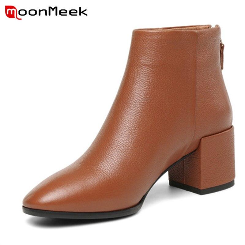 Cheville Chaussures Caramel Talons noir Mode Cuir Automne Dames Carrés Bottes En Véritable Hiver 2018 Hauts Élégant Moonmeek Classique c4ARLq35j