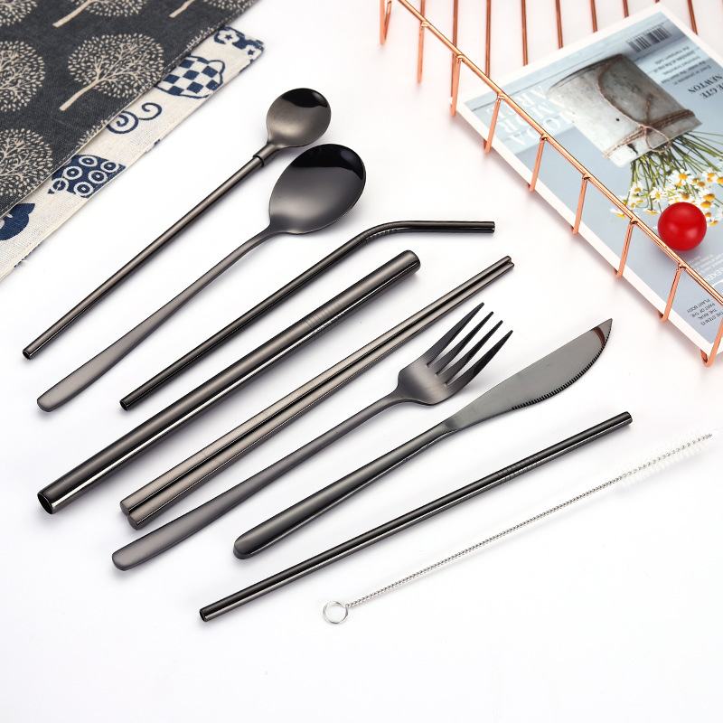 2019new Korean Portable Cutlery Stainless Steel Cutlery Chopsticks Fork Spoon Metal Straw Brush Close Bag for Party Cutlery Set in Dinnerware Sets from Home Garden