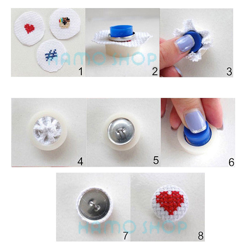 Round Fabric Cloth Covered Button Metal DIY Bag Cloth Buckle Kits Press Bread Button Cloth Base With 1 Set Hand Tools