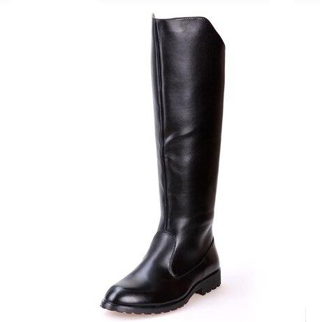 Audace Solido Di Alta Stivali Mens Militare Nero Stivali In Pelle Di Mucca Naturale Degli Uomini Lungo Impermeabile Doposci Equestre Moto Stivali