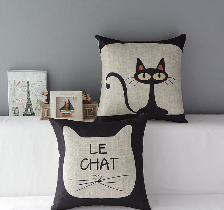 new linen cushion pillow cases pillow cover cat print home