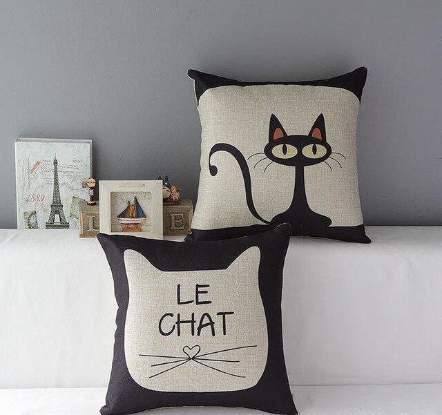 New Linen Cushion Pillow Cases Pillow cover  Cat print  home pillowcase  Couple Pillows decorate 45x45cm almohada