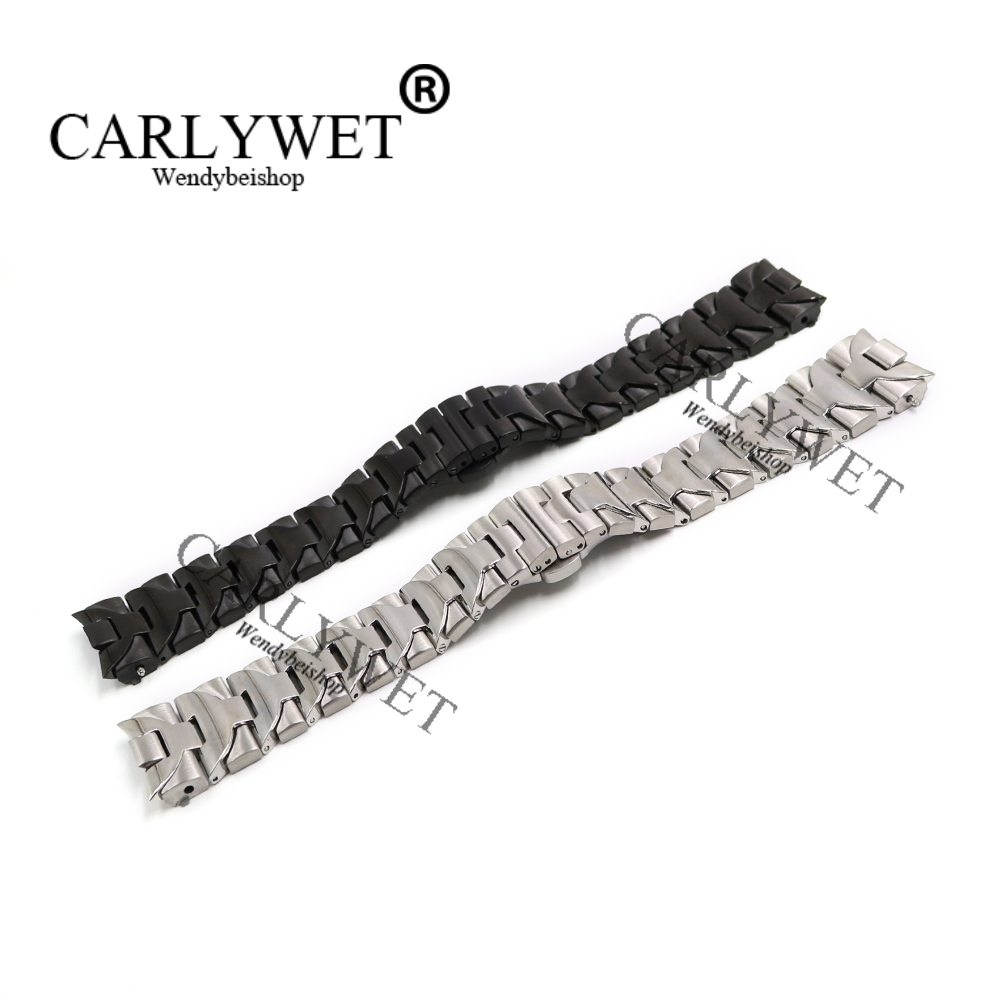 CARLYWET 24mm Black Silver Middle Polish Solid Curved End Screw Links Stainless Steel Deployment Clasp watch band Bracelet стоимость