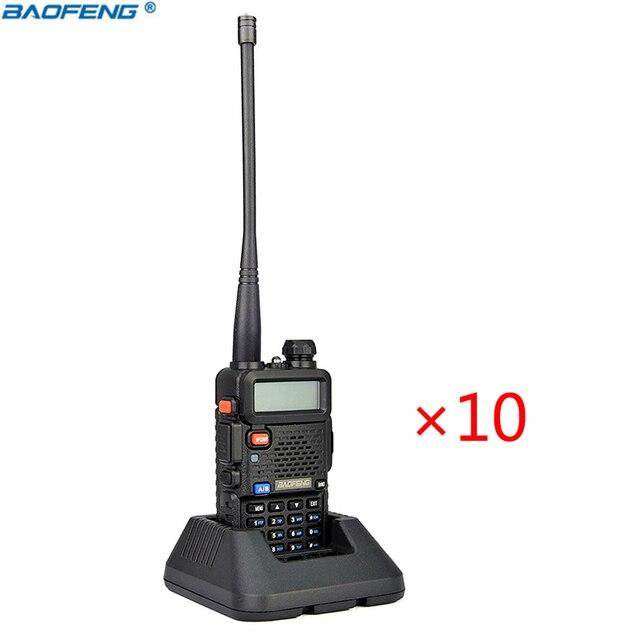 10PCS BAOFENG UV-5R WALKIE TALKIE pair Black ham two way radio dual band vhf uhf Portable radio baofeng uv 5r 2 comunicador