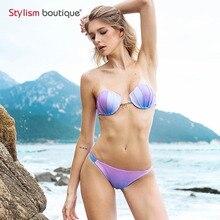 Shell sereia Sutiã Push Up Two-Piece Suit Cor Gradiente Swimwear Beachwear Conjunto Biquínis Sexy Maiô Biquini Maillot De Bain