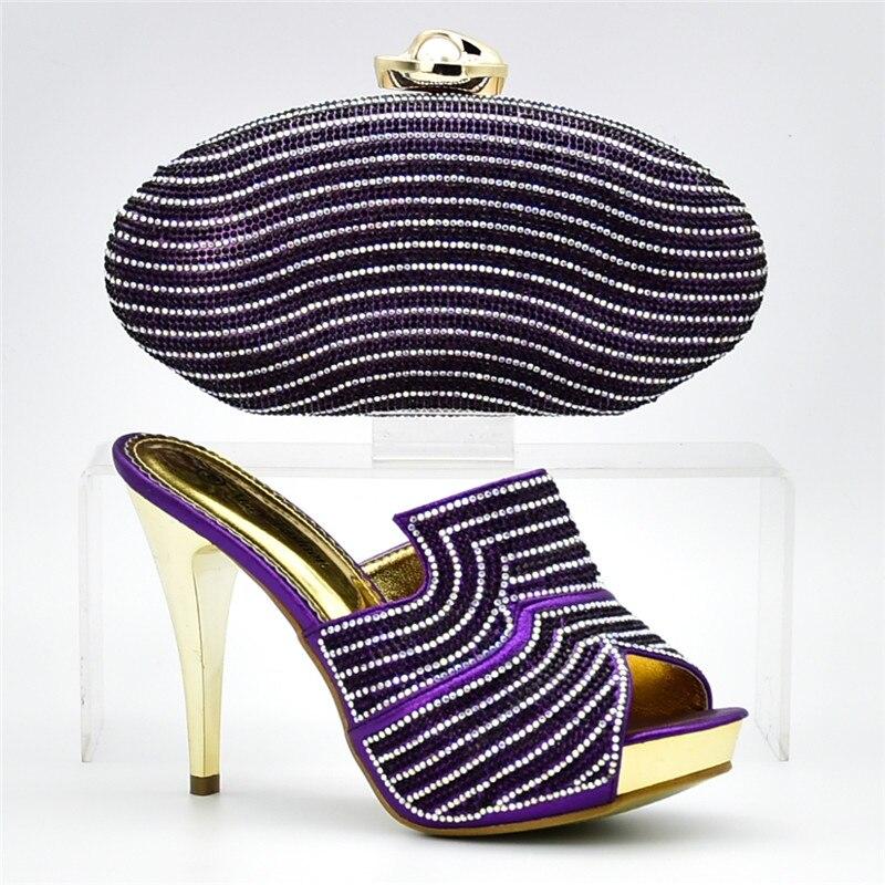 Y A Adornado La Juego Zapatos Moda Conjunto Bolso De sliver black Diamantes Italiano Africana Bolsa Con Blue Zapato Nueva purple fuchsia Boda Conjuntos Imitación gold 0IUwxUZ