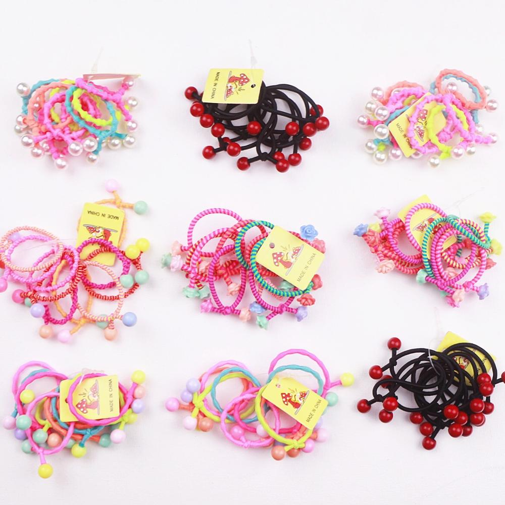 10PCS/Lot Cute Princess Baby Children Cherry Pearl Flower Hairband  Headwear Scrunchie Rubber Bands Hair Clip Accessories