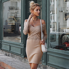 CUERLY Off shoulder Criss Cross knitted women sweater dress V neck bodycon sexy dress 2019 Autumn winter dress ladies vintage criss cross faux suede open shoulder dress
