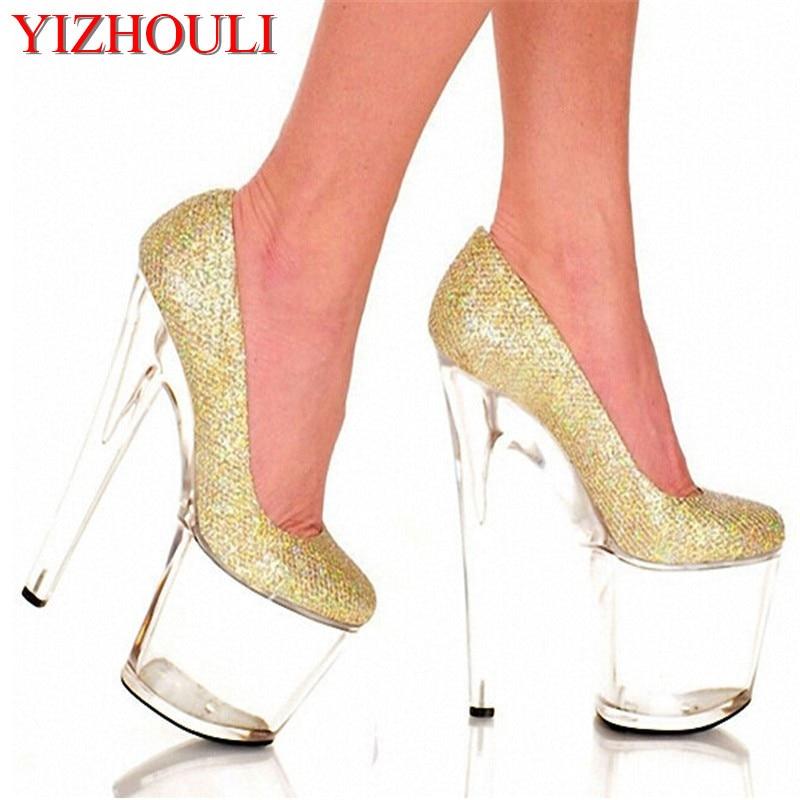 Or Cristal Femmes argent 8 Chaussures Hauts À forme Simples De élévation Peu Bouche Or Profonde Super Pouce 20 Pompes Plate Cm Talons rrgqd
