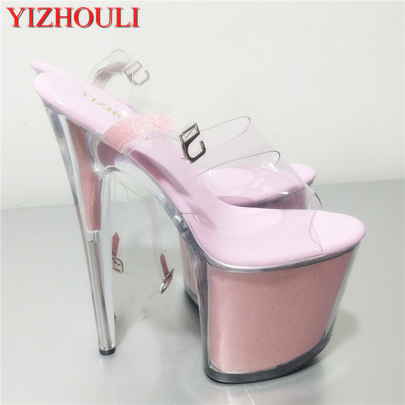 Shiny Rhinestones 20CM Super Sexy High-Heeled Platform party Pole Dance Performance 8 inch Crystal Wedding Shoes 20cm sexy ultra high heeled platform shoes performance shoes platform black pu leather single shoes 8 inch fashion crystal shoes