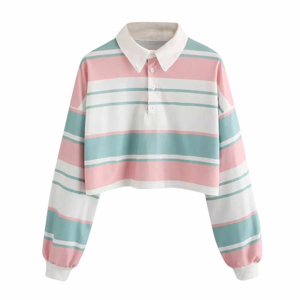 انخفاض الكتف مخطط المحاصيل البلوز البلوز الحلو المرأة قميص المرأة الفتيات أنيقة مخطط هوديي البلوز عادية # BL5