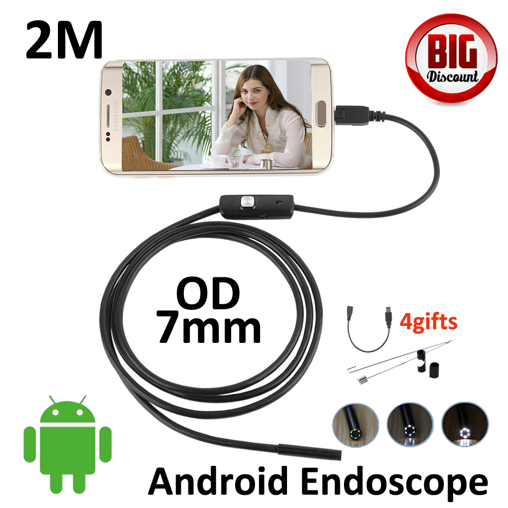 2M Android OTG USB Endoscope Camera 7mm lens IP67 Waterproof Snake Tube inspection Android Phone PC USB Dection Borescope Camera 2m mini android usb endoscope camera 5 5mm lens snake tube waterproof android phone otg usb endoscope borescope camera 6pcs led