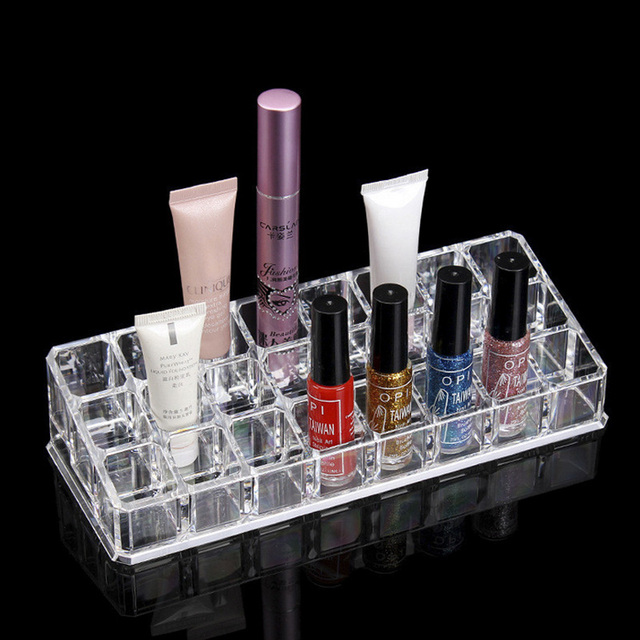 Cheap Plastic 24 Lipstick Holder Display Stand Clear Acrylic Cosmetic Organizer Makeup Case