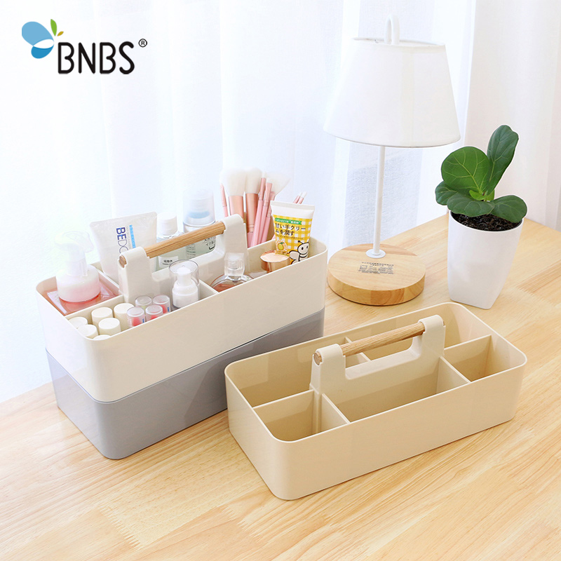 BNBS Multifunctional Creative Desk Sundries Storage Remote Control Holder Box Plastic Desktop Cosmetic Organizer Makeup Box