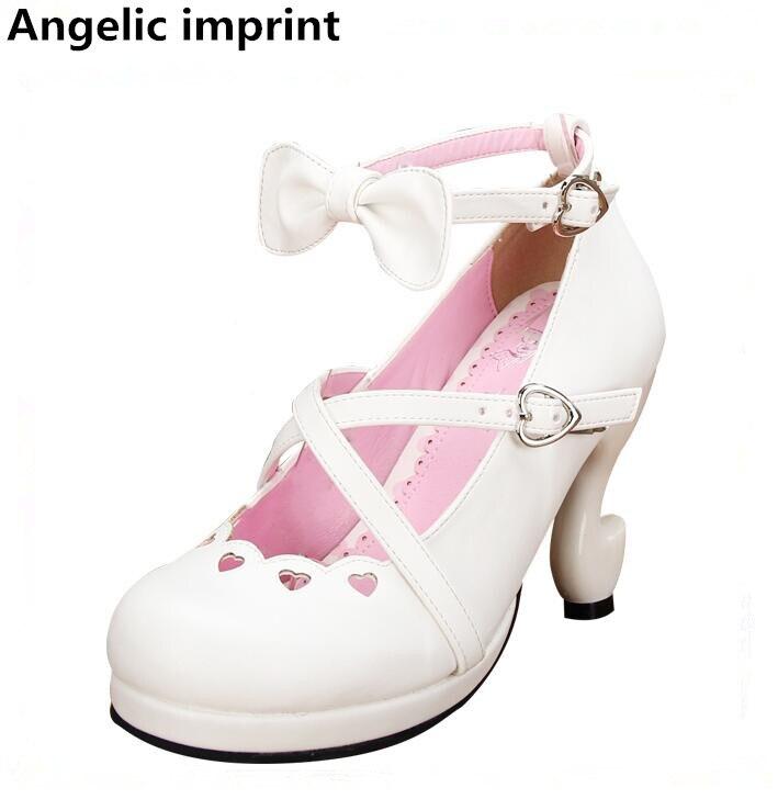 Princesse Lady Coeur Cosplay Chaussures Haute Mince Femmes Robe 8463 Mori Amour White Talons Partie Lolita Empreinte Pompes Angélique Femme Fille XwOk8PNn0