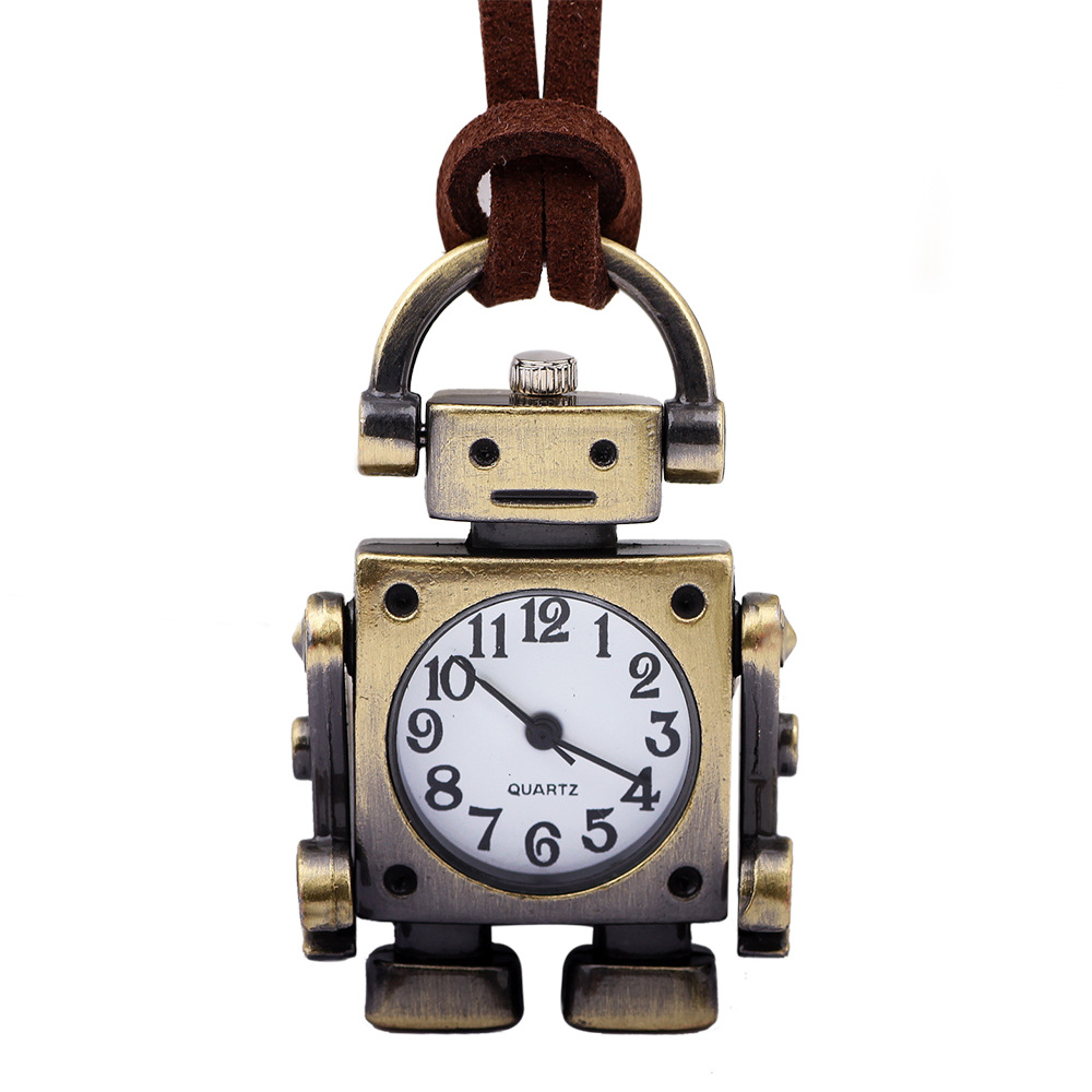Creative Quartz Pocket Watches Men Women Bronze Vintage Pendant Watches Open Face Leather Pocket Watch Chain Necklace Robot Gift cute open wings night owl shaped quartz pocket watch men women fob pendant gift necklace free shipping