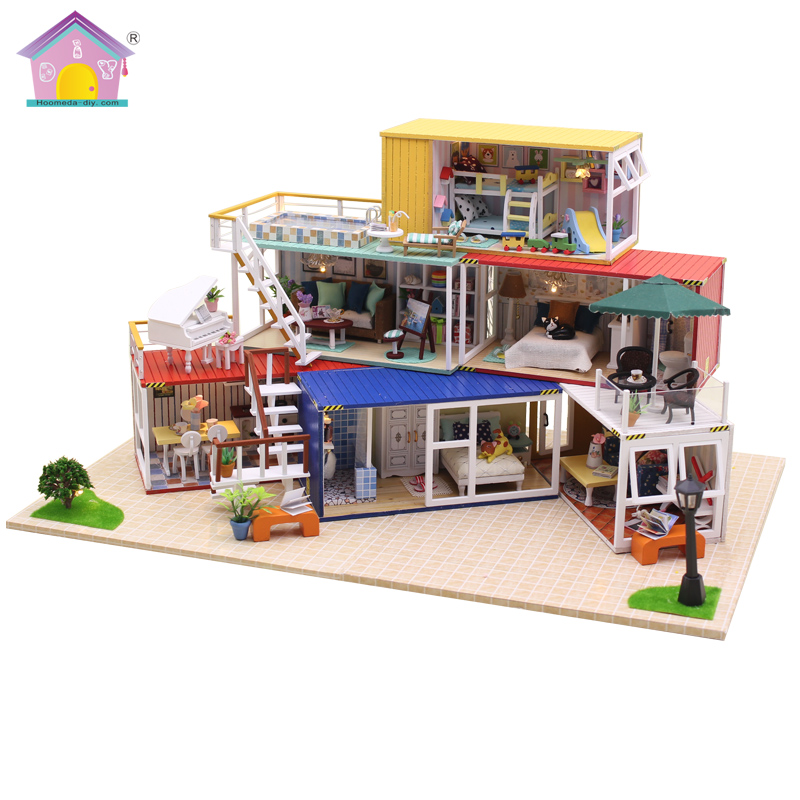 24th DIY Wooden Handcraft Dolls house Miniature DIY Kit LED Light & All Furnitures with English instruction free shipping assembling diy miniature model kit wooden doll house house toy with furnitures