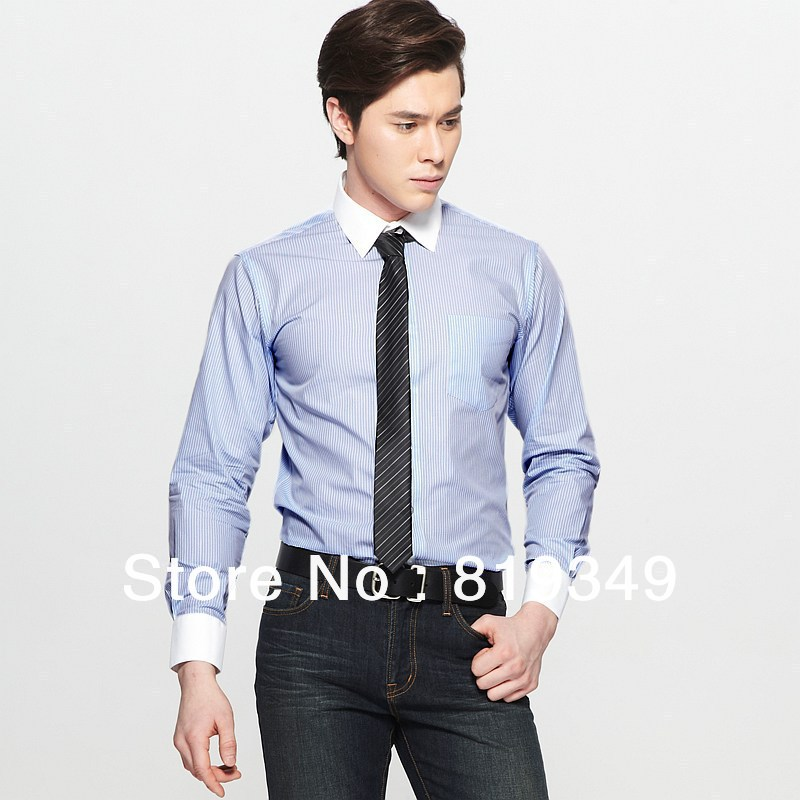 Blue dress shirt white collar kamos t shirt for Blue and white striped shirt with white collar
