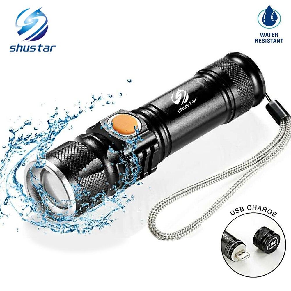 USB Innen Batterie T6 Leistungsstarke 2000LM Led Taschenlampe Tragbare Licht Wiederaufladbare Taktische LED Taschenlampen Zoom Taschenlampe