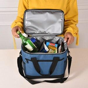 Image 2 - Вместительный ланч мешок, водонепроницаемая изолированная Термосумка для женщин и мужчин, контейнер для еды для пикника, Ланч бокс