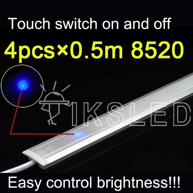 20pcs Lot 50cm Dc12v Dimmable Touch Sensor Light Led Strip: Touch Switch Control 4pcs 0.5m 8520 Rigid Strip Dimmable